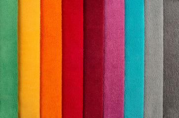 Photos bright colored fabrics close-up