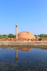 Ananda Stupa and Asokan pillar at Kutagarasala Vihara, Vaishali,