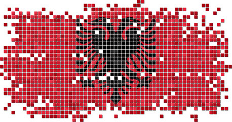 Albanian grunge tile flag. Vector illustration