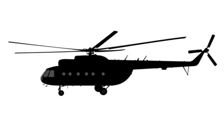Helicopter of silhouette.