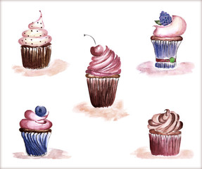 Background with dessert. Watercolor illustration.
