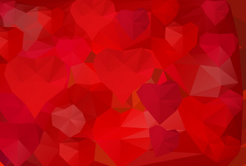 Polygonal background with hearts