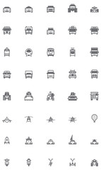 Vector transport icon set