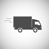 Fototapety Delivery truck contour, flat icon.