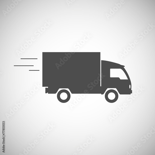 Delivery truck contour, flat icon.