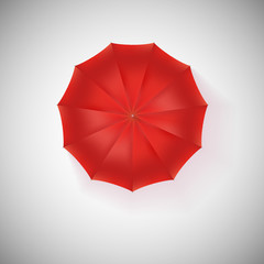 Opened red umbrella, top view, closeup.