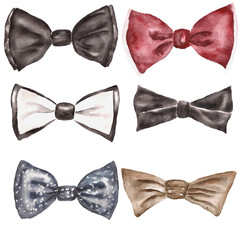 Watercolor illustration with bow tie. Fashion background
