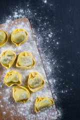 Home cooking, preparation of ravioli pasta from above