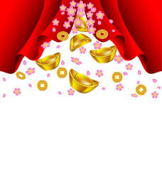 Sakura blossom and gold ingot fall from red curtain