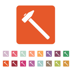 The hammer icon. Hammer symbol. Flat