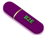 B2E inscription on USB flash drive poster