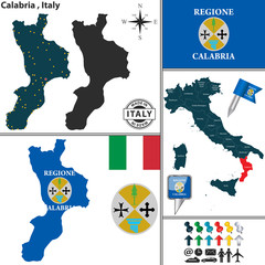 Map of Calabria, Italy