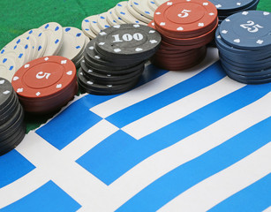 tokens for gambling over the flag of Greece