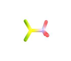 Nitromethane molecule isolated on white