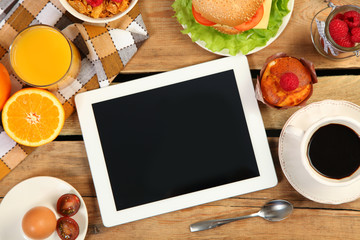 tablet and food