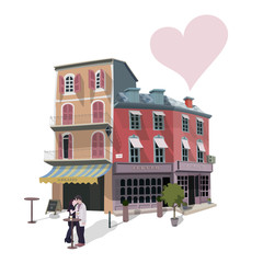 Vector illustration of kissing couple in a street cafe