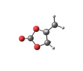Propylene carbonate molecule isolated on white