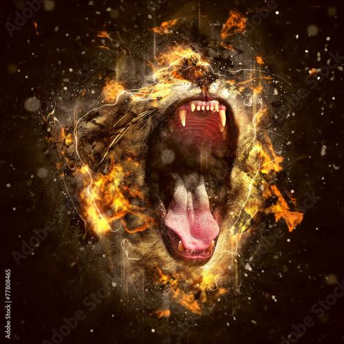 Foto op Canvas Leeuw Conceptual Lion Portrait