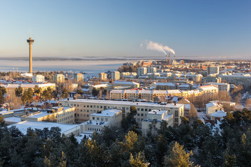 View of Näsinneula observation tower and Tampere city