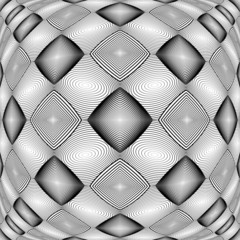 Design warped monochrome geometric diamond pattern