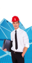 Young self confident businessman in red hardhat