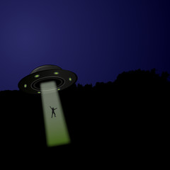 Flying saucer arrived at night, vector