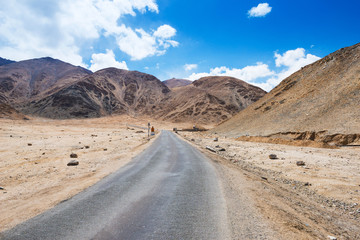 Local road and Mountain range in Leh, Ladakh, India