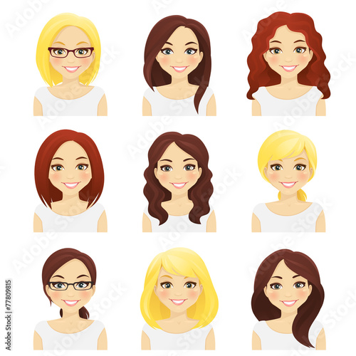 Set of cute girls with different hairstyles and color - 77809815