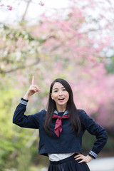 桜 コピースペースと女子学生