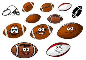 Cartoon footballs and rugby balls characters