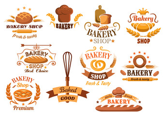Large set of bakery labels or badges