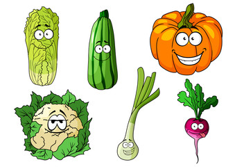 Happy colorful fresh cartoon vegetables
