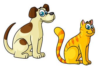 Cute happy cartoon cat and dog pets