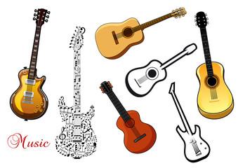 Set of musical guitars
