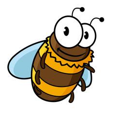 Happy flying cartoon bumble or honey bee