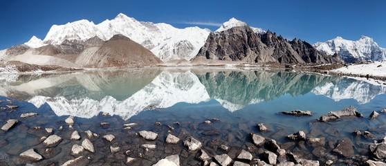 view of Cho Oyu mirroring in lake