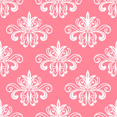 White on pink floral seamless pattern
