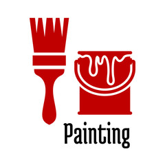 Painting icons with a brush and tin of paint