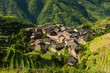 Landscape photo of rice terraces and village in china - 77811843