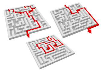 Labyrinth puzzles with arrow solutions