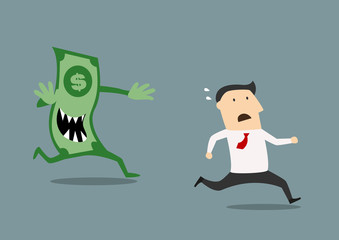 Businessman pursued by an evil dollar banknote