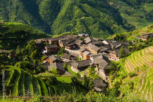 Papiers peints Chine Landscape photo of rice terraces and village in china