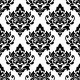 Black floral seamless pattern in damask style