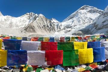 Everest base camp with rows of buddhist prayer flags