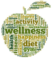 Tag cloud related to diet, wellness, fitness, health