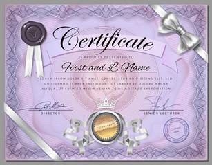 Vintage certificate template with detailed border with ribbon