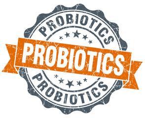 probiotics vintage orange seal isolated on white