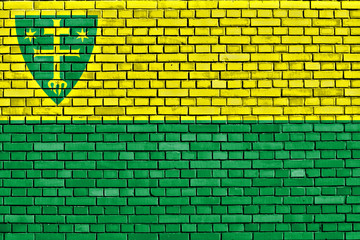 flag of Zilina painted on brick wall