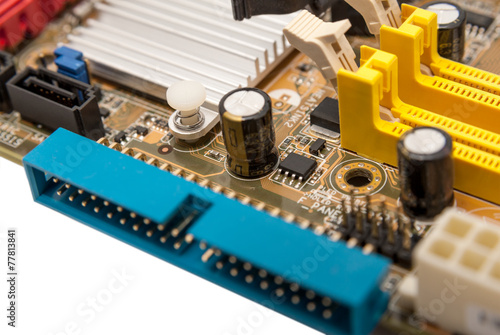 Electronic collection - digital components on computer mainboard - 77813841