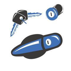 Maniglia cilindretto e chiavi automobile